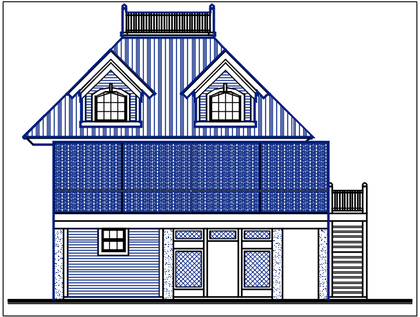 Elevation naming with dimension in bungalow details dwg files