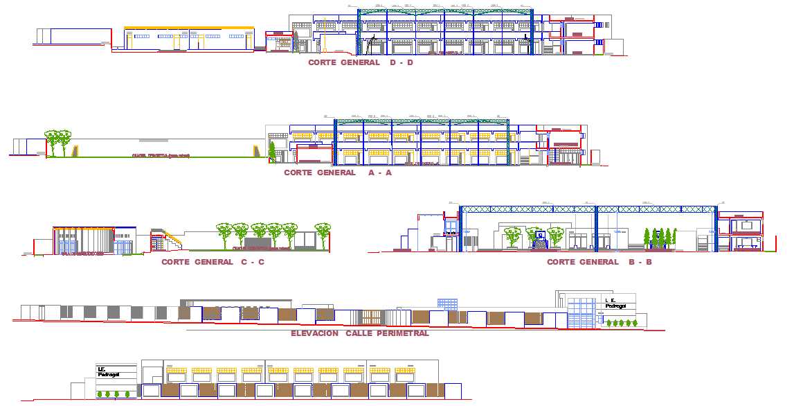 Elevation of Education institution  dwg file