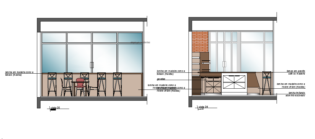 Elevation of a cafe dwg file