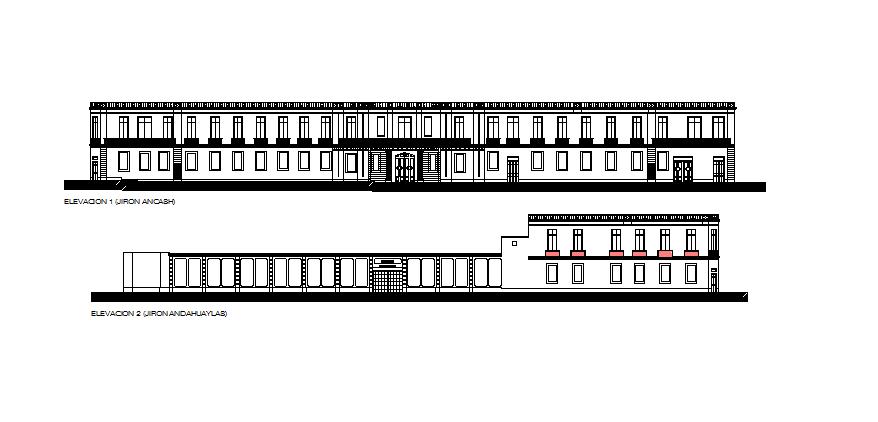 Elevation of a school dwg file