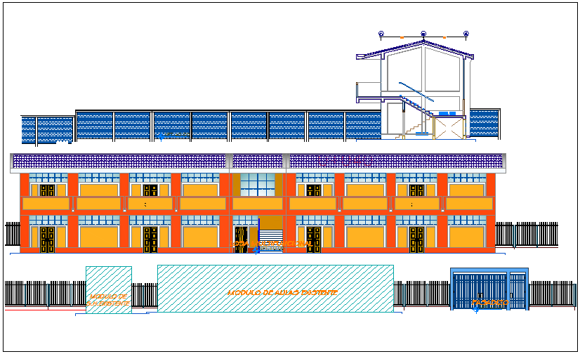 Elevation of collage university dwg file