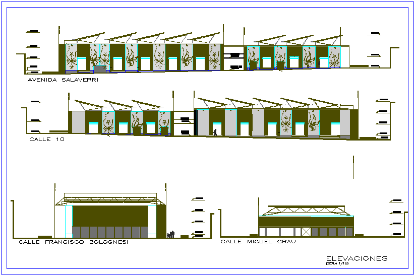 Elevation of different axis view for market building dwg file