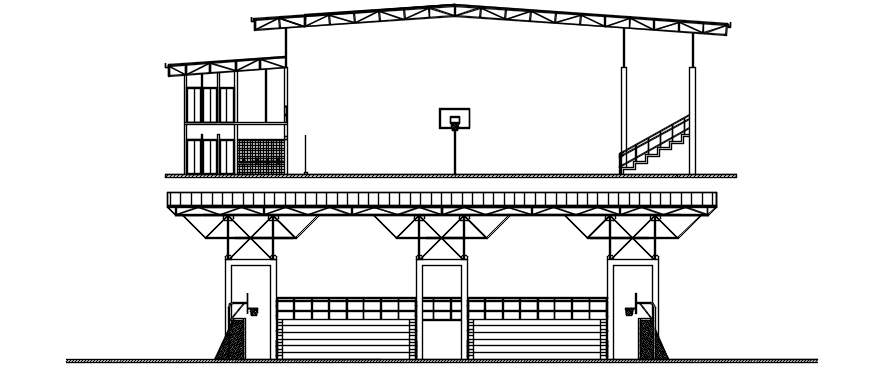 Elevation of sports center in autocad