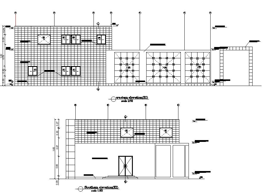 Elevation registration offices plan detail dwg file