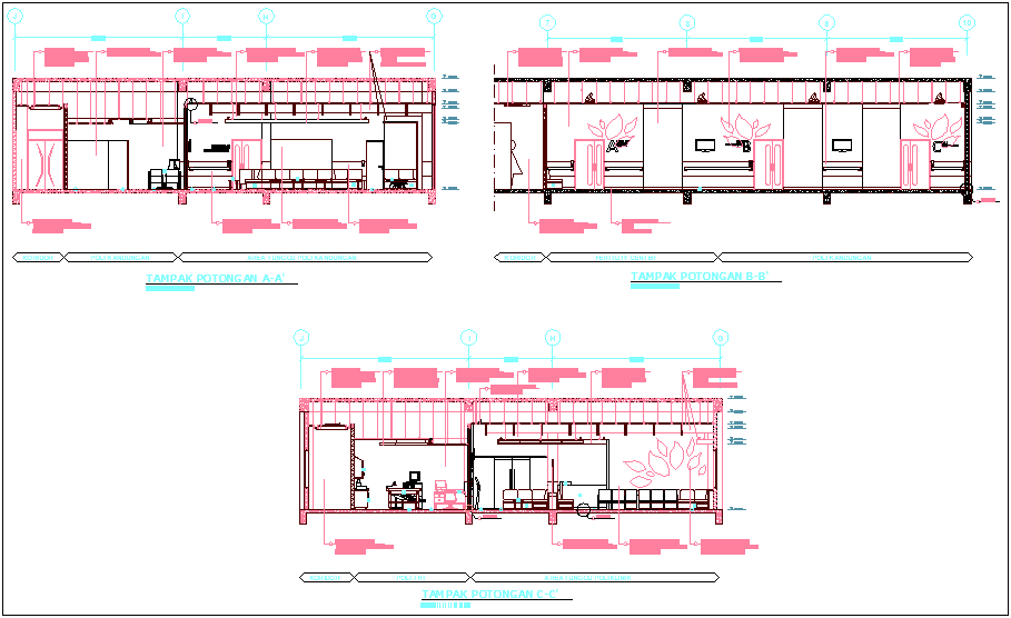 Elevation view with different axis of hospital dwg file