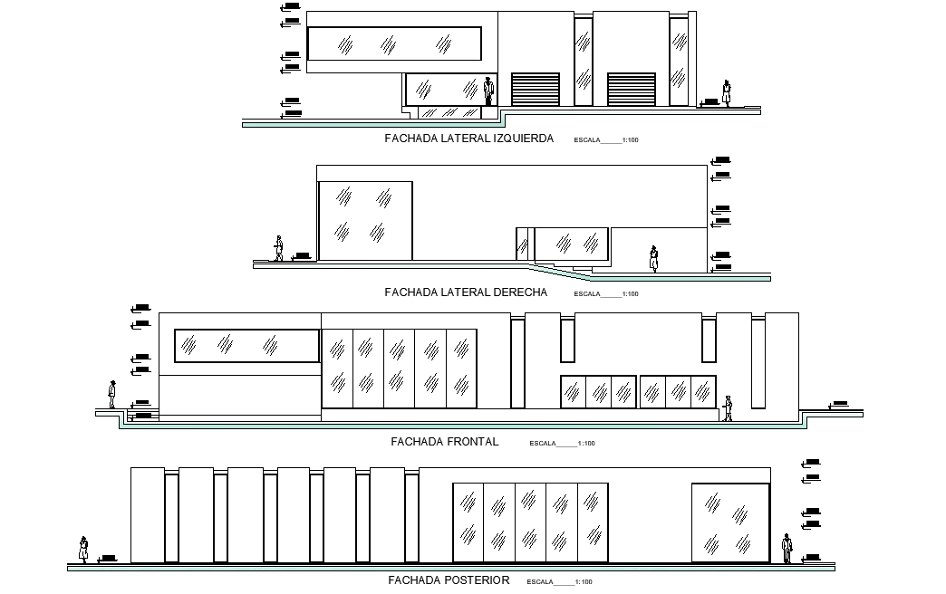 Elevation viilla or retirement home plan layout file