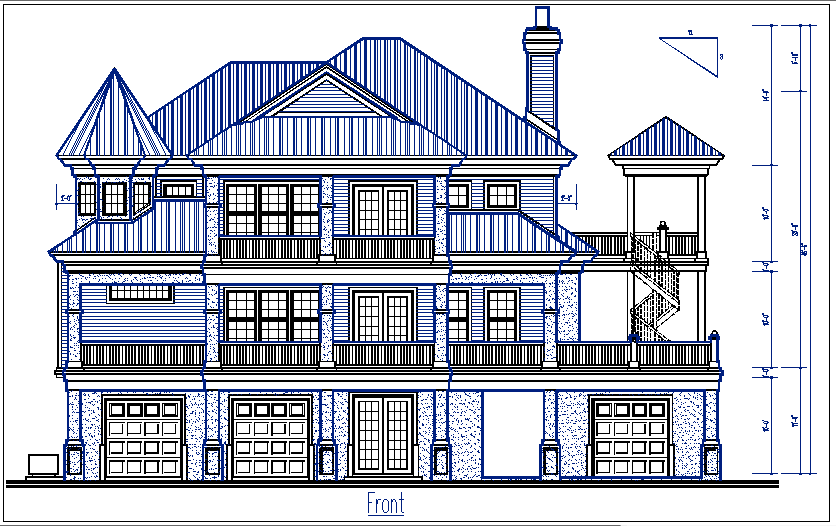 Elevation with design details dwg files