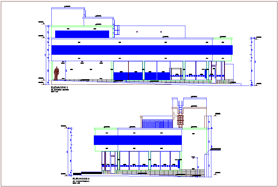Elevation with different axis  view for banking  building dwg file