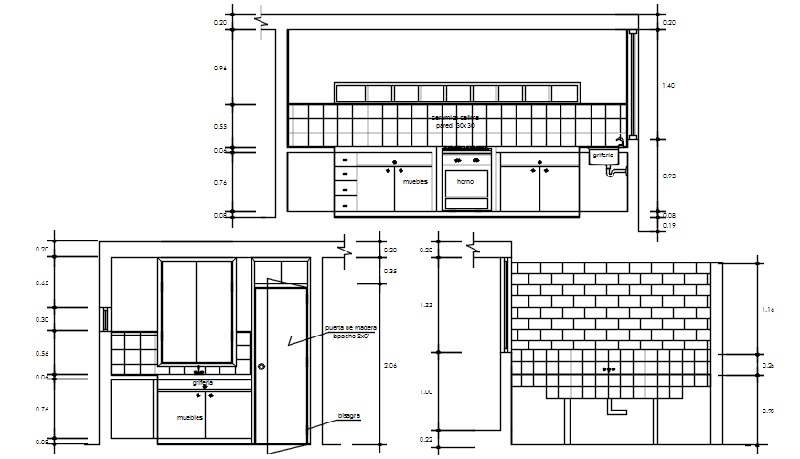 Elevations of kitchen layout