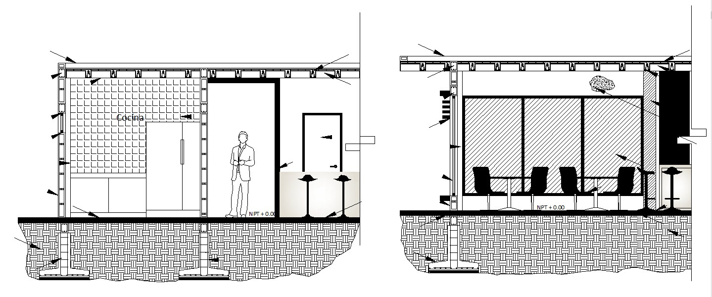 Elevations of the dining area in dwg file