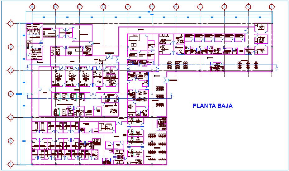 Emergency clinic floor plan view dwg file