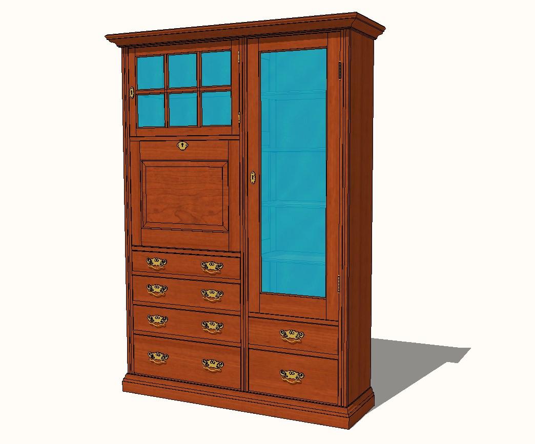 English Victorian Secretary Desk 3d elevation cad drawing details skp file