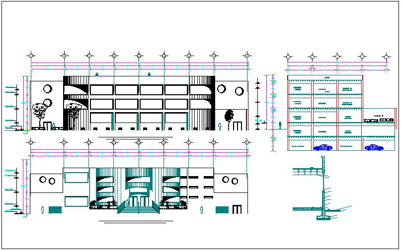 Entrance detailing elevation design of a building dwg file