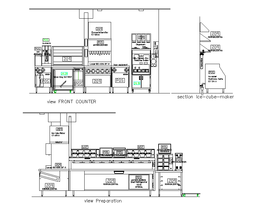 Equipment for industrial kitchen dwg file