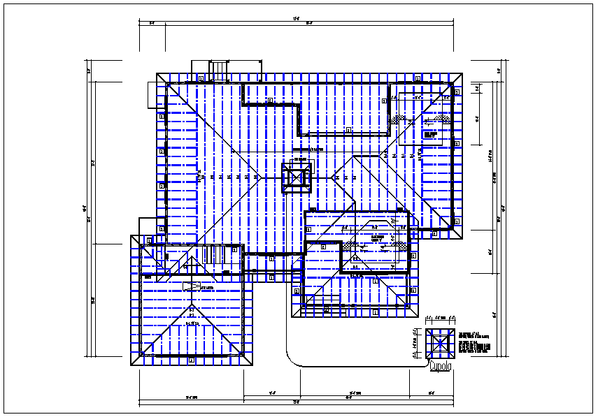 Existing flat roof plan view with foundations of column plan layout detail dwg file