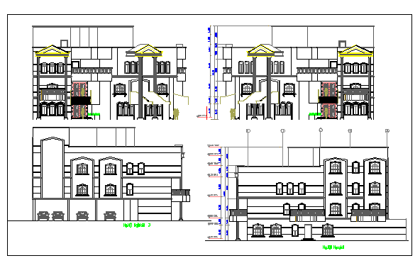 Exterior elevation of a building dwg file