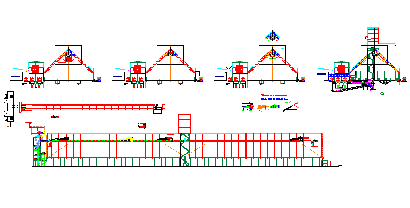 Factory machinery with plan and elevations
