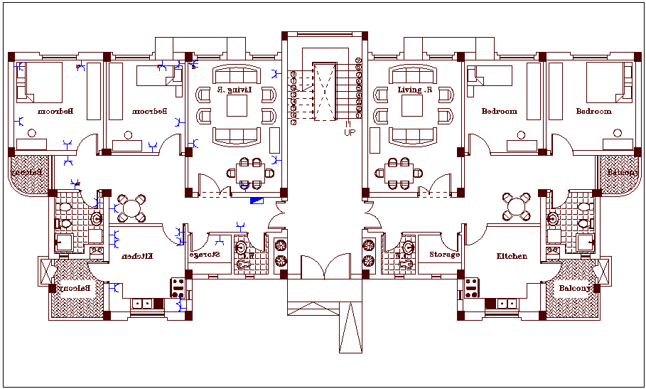 Family house design plan view dwg file