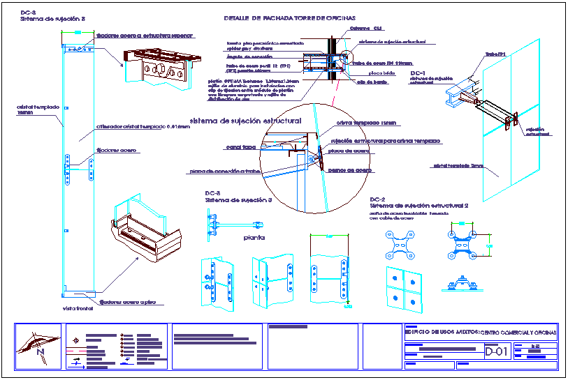 Fastening system of tower with structural detail view for shopping center and office dwg file
