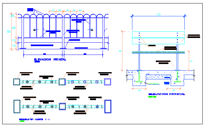 Fence with metallic grill architecture project dwg file