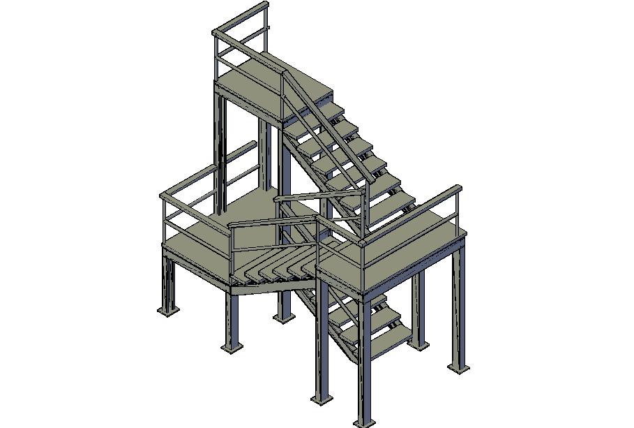 Fire escape staircase 3d file