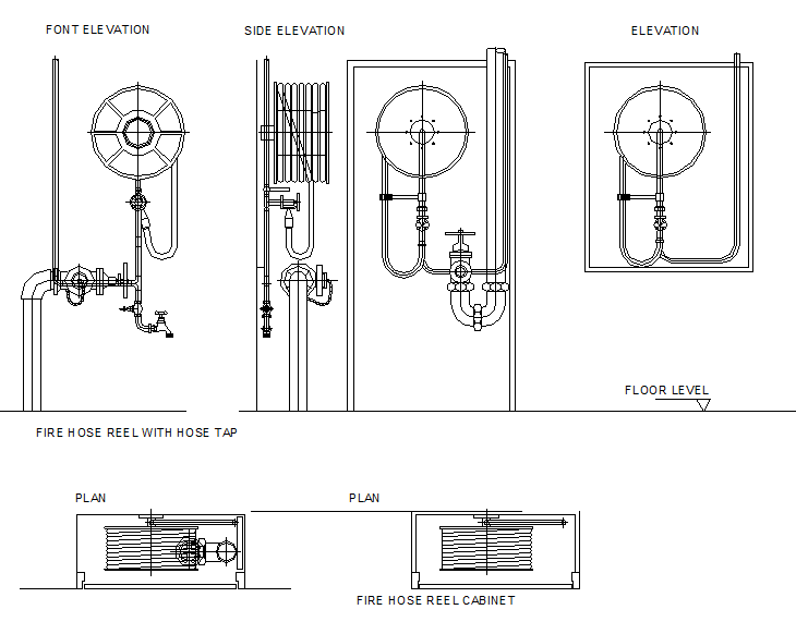 Fire hydrants elevation dwg file