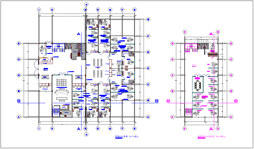 First and second floor plan of bank agency dwg file