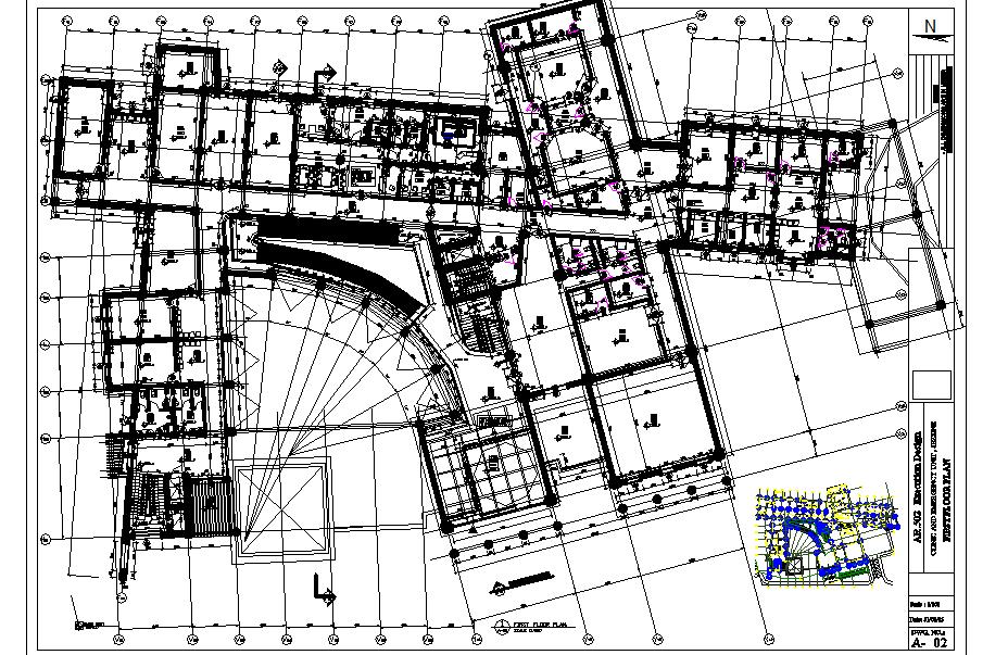 First floor School commercial plan detail dwg file