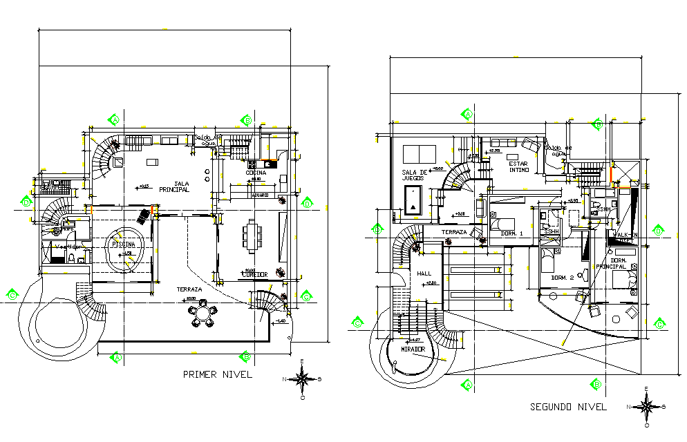 First floor and second floor house plan layout file