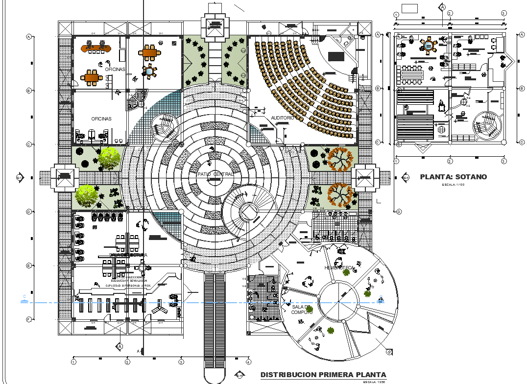First floor distribution plan of library dwg file