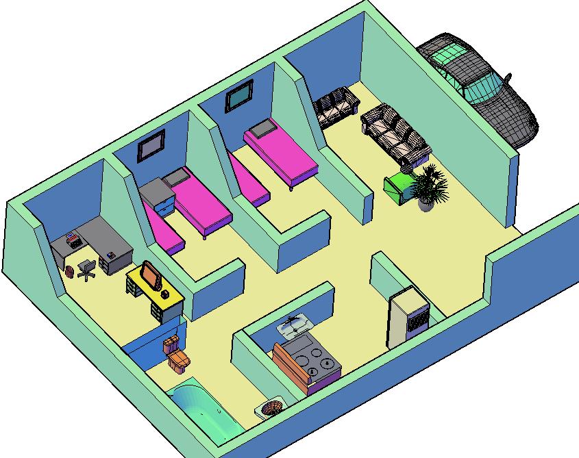 First floor of a house 3 D plan detail