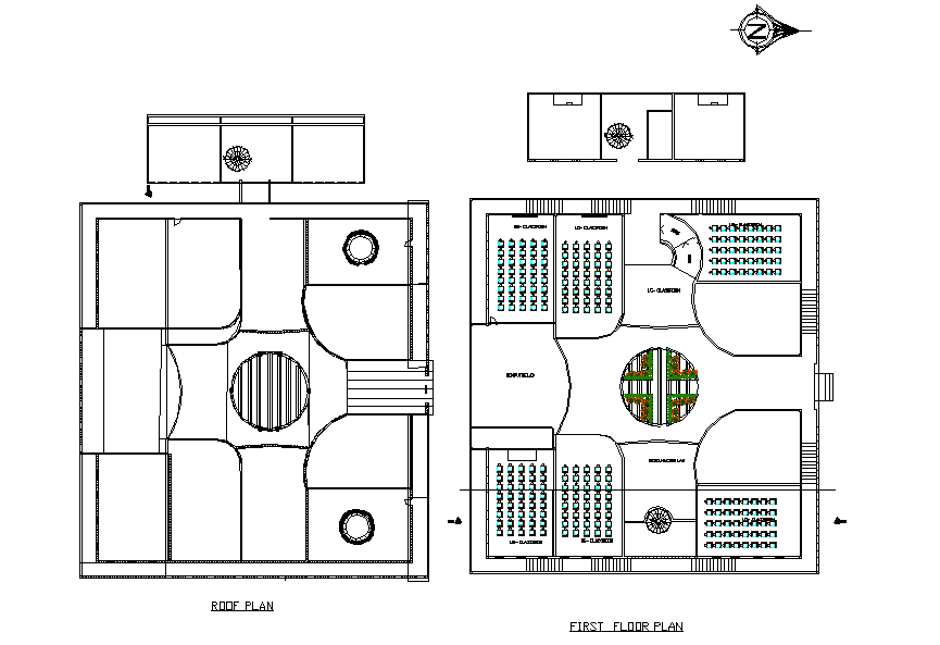 First floor plan and roof plan detail dwg file