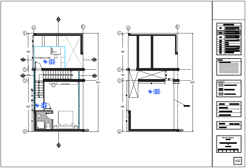 First floor plan with structural system of apartment dwg file