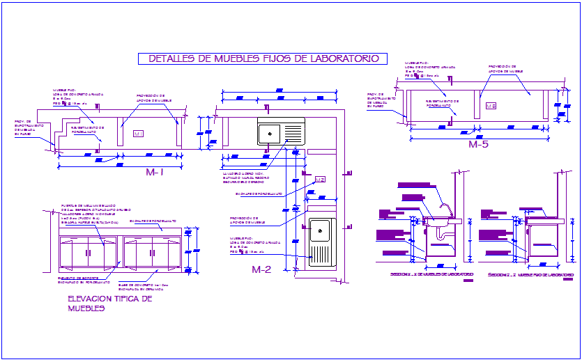 Fixed laboratory furniture detail view for dental clinic dwg file