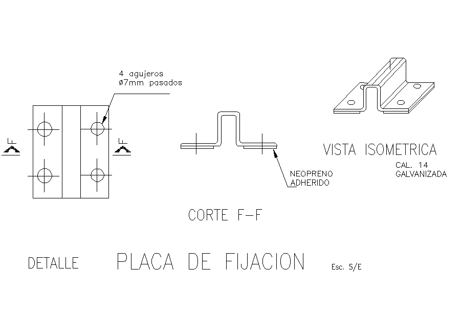 Fixing plate plan dwg file