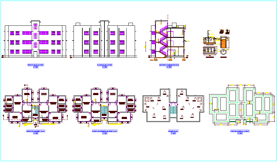Flat plan and elevation view with tank section view dwg file