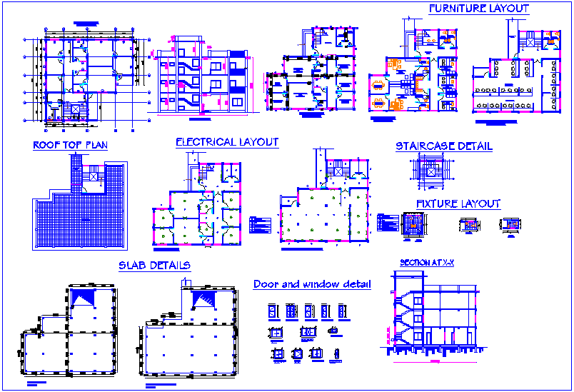 Flat plan design view with furniture,electrical,slab and fixture layout plan dwg file