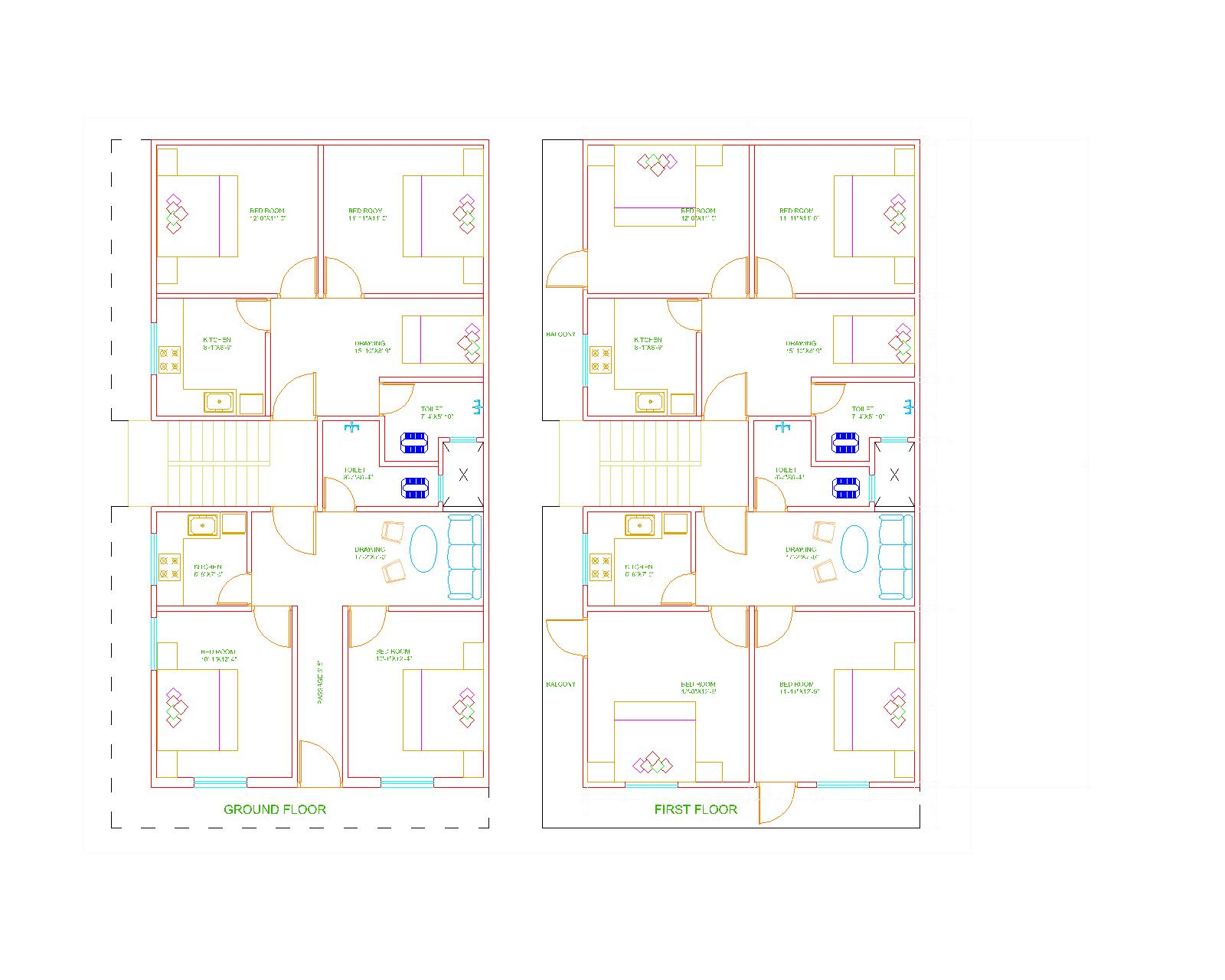 Floor Plan G+1 Residential Building