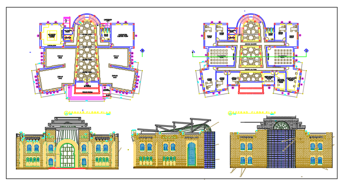 Floor Plan and exterior elevation of a school dwg file