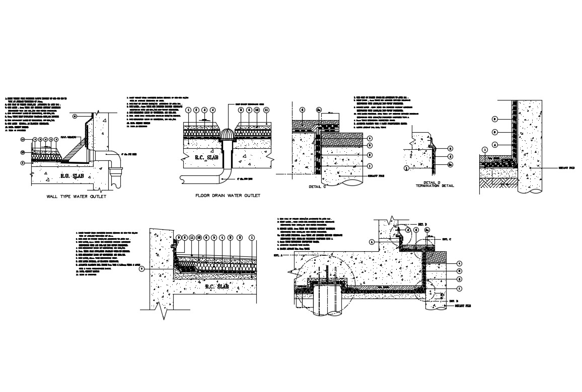 Floor drain water layout and rcc slab construction cad drawing details dwg file