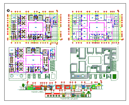 Floor plan and elevation of child school dwg file