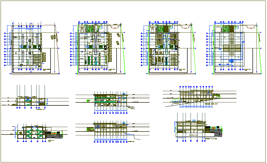 Floor plan and sectional view of laboratory building dwg file