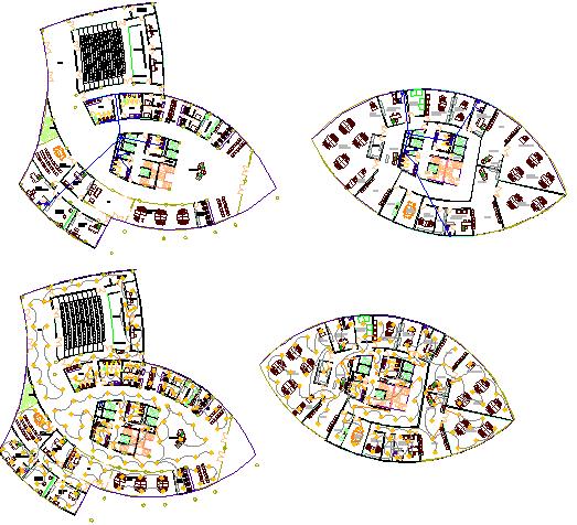 Floor plan details of corporate office building dwg file