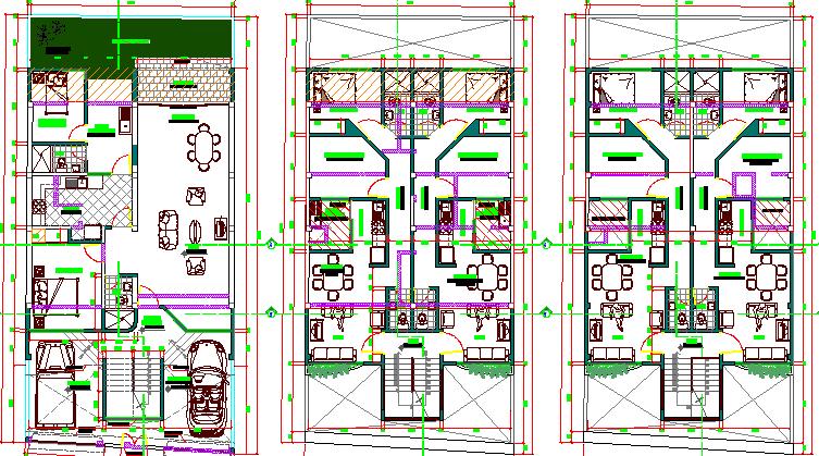 Floor plan details of three flooring bungalow project dwg file