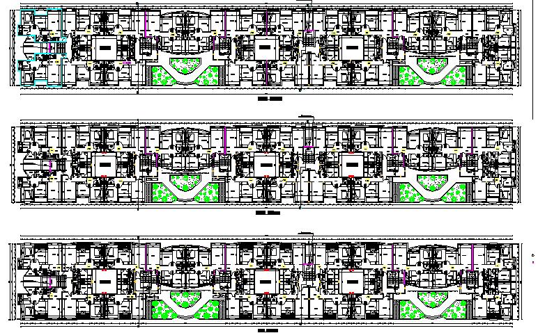 Floor plan details of three flooring corporate building dwg file