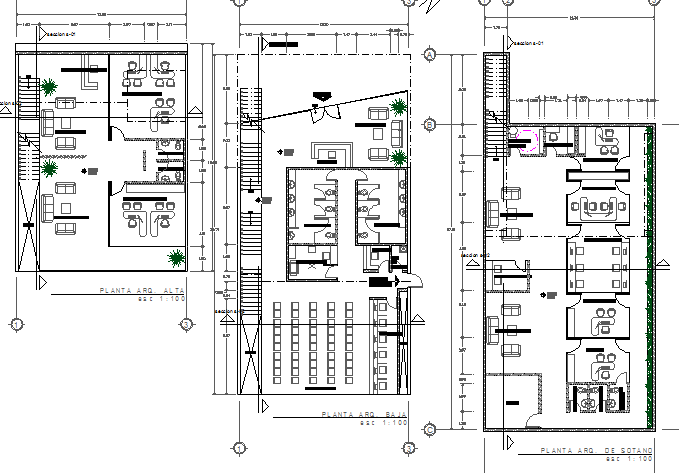 Floor plan layout details of government office building dwg file