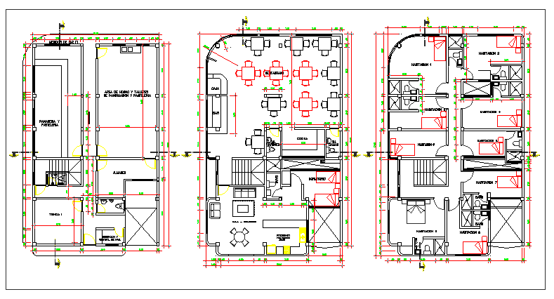 Floor plan layout of multi-flooring bungalow dwg file