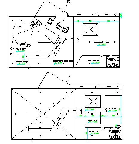 Floor plan layout of multi-flooring education building dwg file