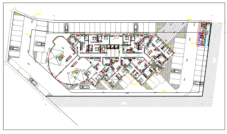 Floor plan of a hotel and restaurant dwg file