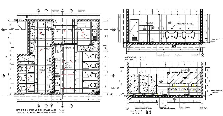 Public toilet plan in AutoCAD file